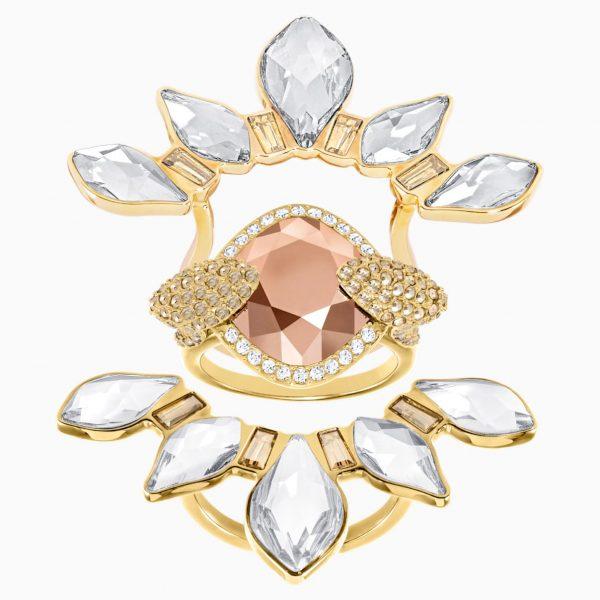 Swarovski Odysseia Motif Ring, Multi-colored, Gold-tone plated