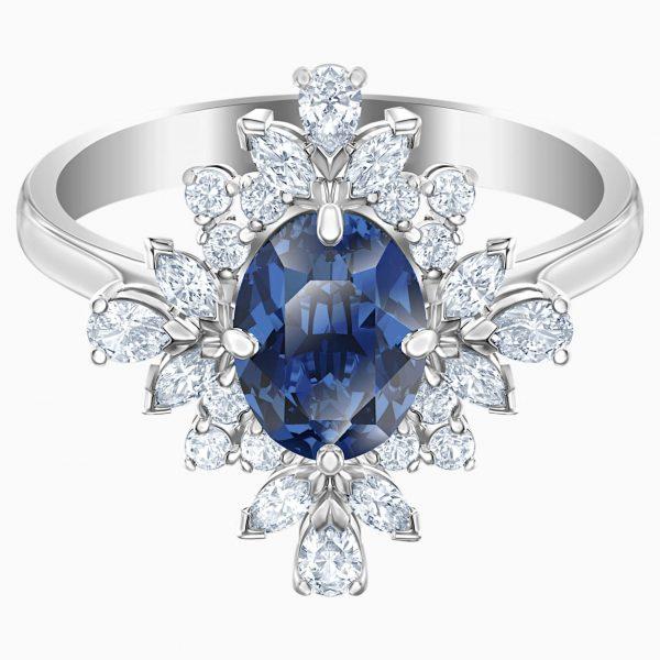 Swarovski Palace Motif Ring, Blue, Rhodium plated