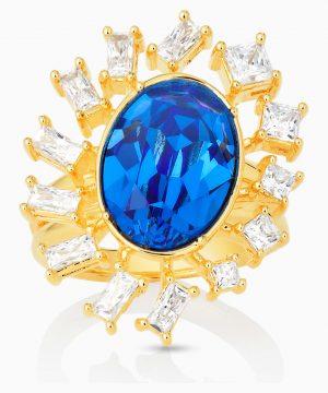 Swarovski Penélope Cruz Icons of Film Ring, Blue, Gold-tone plated