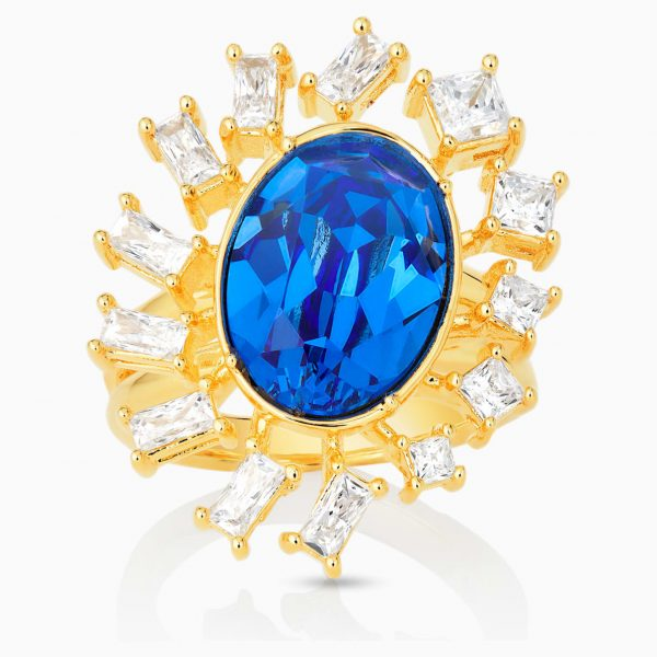 Swarovski Penélope Cruz Icons of Film Ring, Blue, Gold-tone plated