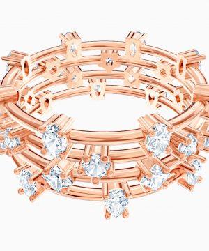 Swarovski Penélope Cruz Moonsun Cluster Ring, White, Rose-gold tone plated