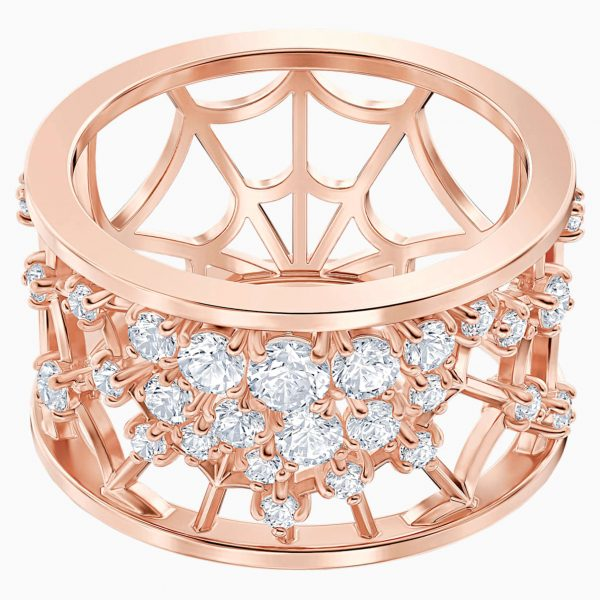 Swarovski Precisely Motif Ring, White, Rose-gold tone plated