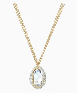 Swarovski Shell Pendant, White, Gold-tone plated