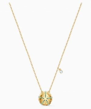 Swarovski Shine Urchin Pendant, Green, Gold-tone plated