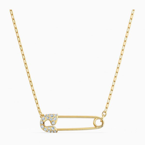 Swarovski So Cool Pin Necklace, White, Gold-tone plated