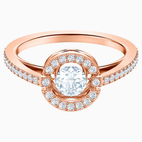Swarovski Sparkling Dance Round Ring, White, Rose-gold tone plated
