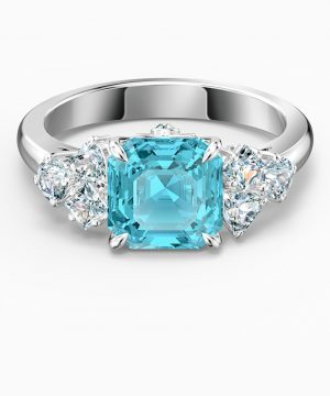 Swarovski Sparkling Ring, Aqua, Rhodium plated