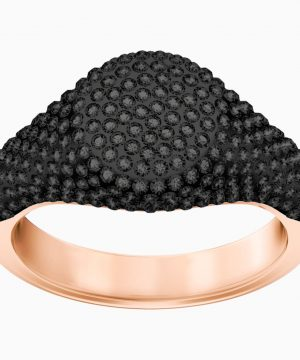 Swarovski Stone Signet Ring, Black, Rose-gold tone plated