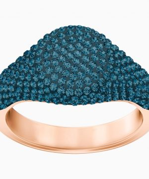 Swarovski Stone Signet Ring, Blue, Rose-gold tone plated