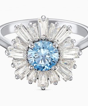 Swarovski Sunshine Ring, Blue, Rhodium plated