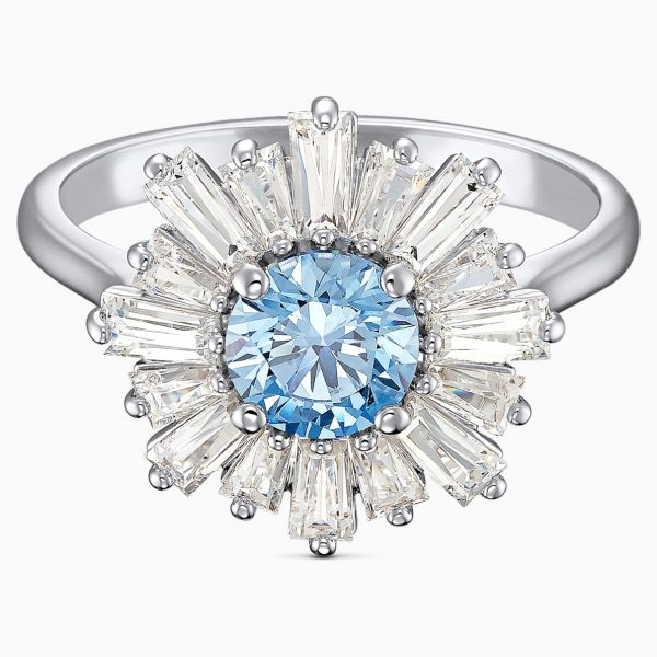 Swarovski Sunshine Ring, Blue, Rhodium plated