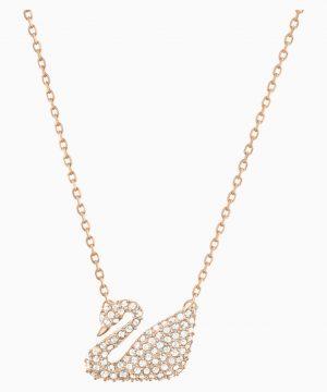 Swarovski Swan Necklace, White, Rose-gold tone plated