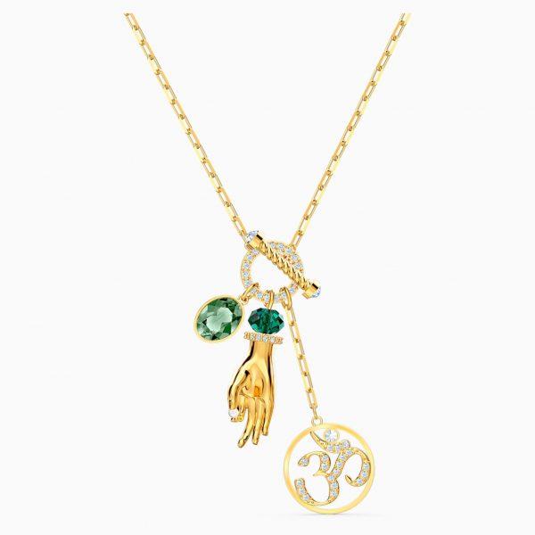 Swarovski Symbolic Hand Om Pendant, Green, Gold-tone plated