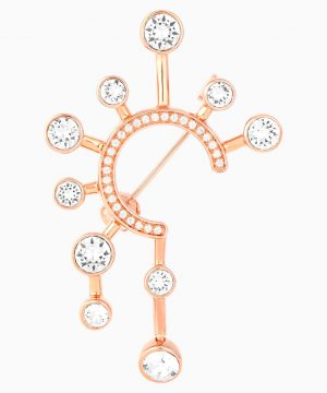 Swarovski Theater Brooch, White, Rose-gold tone plated