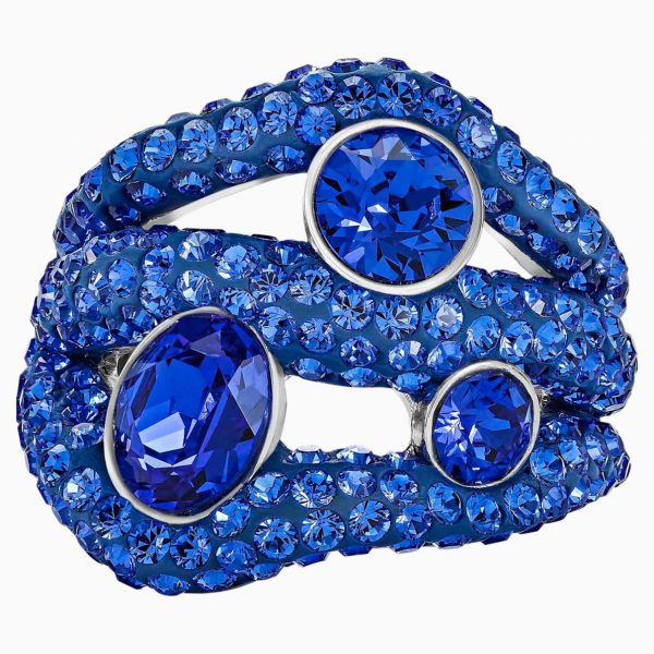 Swarovski Tigris Cocktail Ring, Blue, Palladium plated