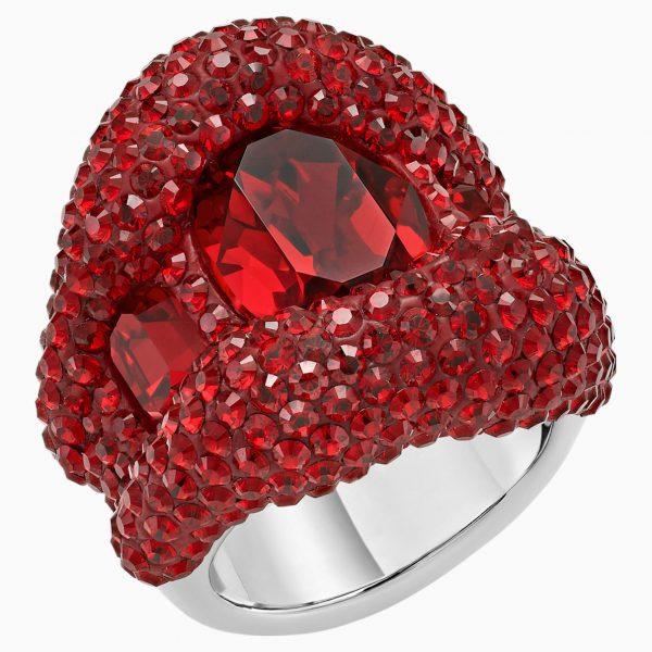 Swarovski Tigris Cocktail Ring, Red, Palladium plated