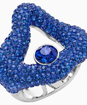 Swarovski Tigris Open Ring, Blue, Palladium plated