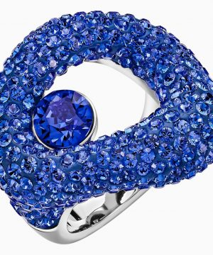 Swarovski Tigris Ring, Blue, Palladium plated