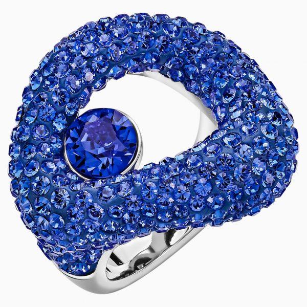 Swarovski Tigris Ring, Blue, Palladium plated