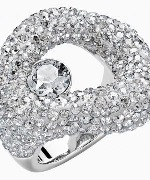 Swarovski Tigris Ring, Gray, Palladium plated