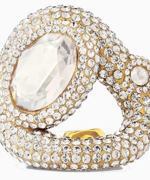 Swarovski Tigris Ring, White, Gold-tone plated