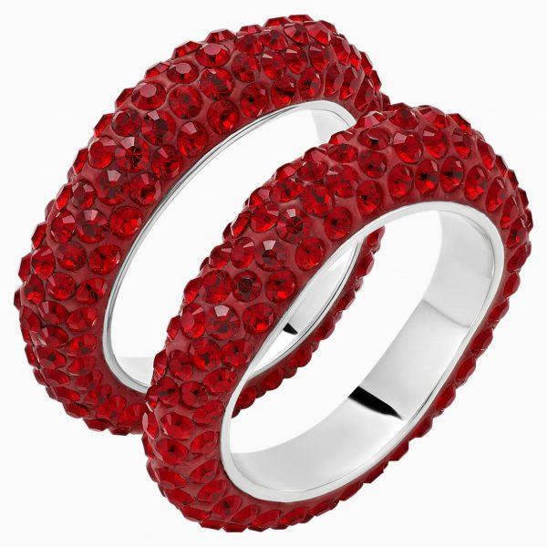 Swarovski Tigris Stacking Ring, Red, Palladium plated