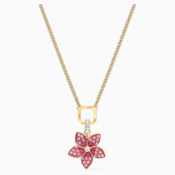 Swarovski Tropical Flower Pendant, Pink, Gold-tone plated