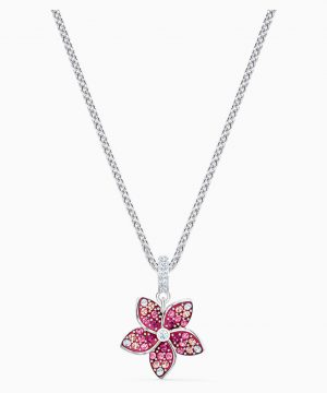 Swarovski Tropical Flower Pendant, Pink, Rhodium plated