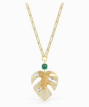 Swarovski Tropical Leaf Pendant, Light multi-colored, Gold-tone plated
