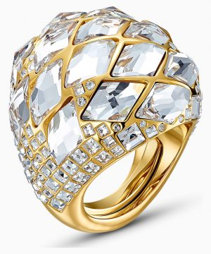 Swarovski Tropical Ring, White, Gold-tone plated