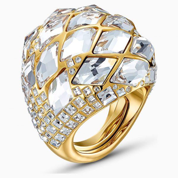 Swarovski Tropical Ring, White, Gold-tone plated