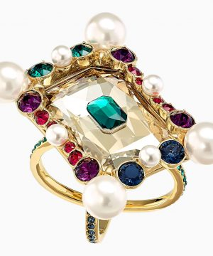 Swarovski Vintage Opulescence Cocktail Ring, Multi-colored, Gold-tone plated