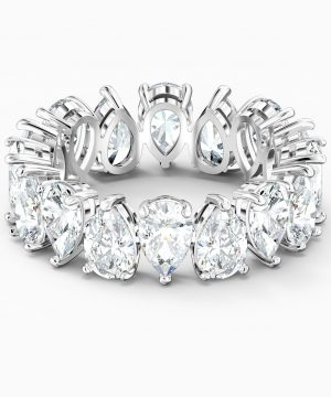 Swarovski Vittore Pear Ring, White, Rhodium plated