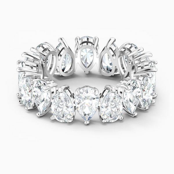 Swarovski Vittore Pear Ring, White, Rhodium plated