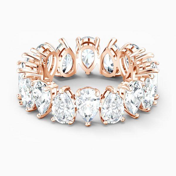 Swarovski Vittore Pear Ring, White, Rose-gold tone plated