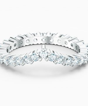 Swarovski Vittore V Ring, White, Rhodium plated