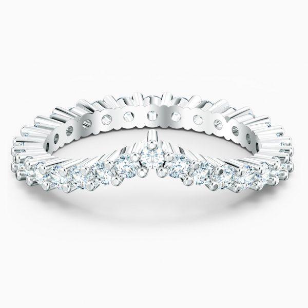 Swarovski Vittore V Ring, White, Rhodium plated