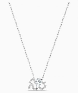 Swarovski Zodiac II Pendant, Aquarius, White, Mixed metal finish