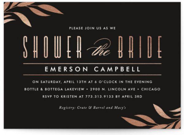Sway Foil-Pressed Bridal Shower Invitations