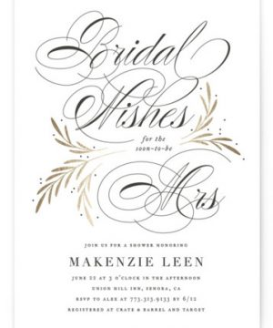 Sweet Bridal Wishes Foil-Pressed Bridal Shower Invitations