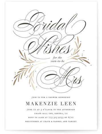 Sweet Bridal Wishes Foil-Pressed Bridal Shower Invitations