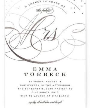 Swish And Swoon Foil-Pressed Bridal Shower Invitations