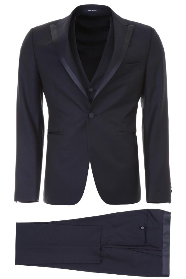 TAGLIATORE THREE-PIECE TUXEDO 48 Blue Wool