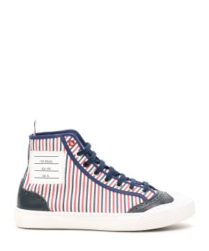 THOM BROWNE HI-TOP TRAINER SNEAKERS 37 White, Blue, Red Cotton, Leather