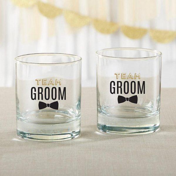 Team Groom 9 oz. Rocks Glass (Set of 4)