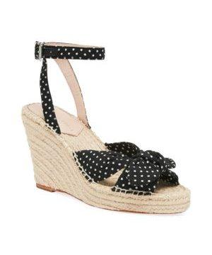 Tessa Bow Polka Dot Cotton Espadrille Wedge Sandals