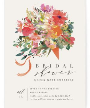 Tossed Bouquet Bridal Shower Invitations