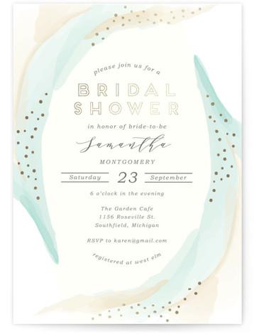 Tranquil Foil-Pressed Bridal Shower Invitations