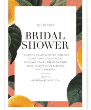 Tropical Border Bridal Shower Invitations