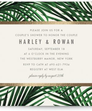 Tropical Love Foil-Pressed Bridal Shower Invitations